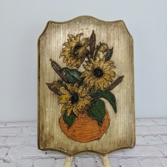 Vintage Other - Vintage Wall Art Rustic Flowers Retro Decor Wooden